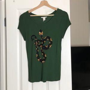 Emerald green  sequin snake tee shirt 🐍
